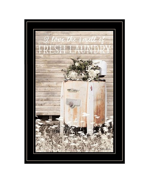 "Trendy Decor 4U Trendy Decor 4U Fresh Laundry by Lori Deiter, Ready to hang Framed Print, Black Frame, 15"" x 21"""