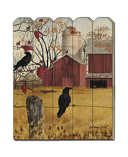 "Trendy Decor 4U Trendy Decor 4U Autumn Gold by Billy Jacobs, Printed Wall Art on a Wood Picket Fence, 16"" x 20"""