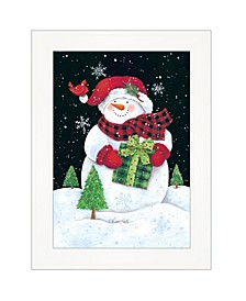 """Trendy Decor 4U Plaid Stocking Hat Snowman by Diane Kater, Ready to hang Framed Print, White Frame with Iron Easel, 11"""" x 16"""""""
