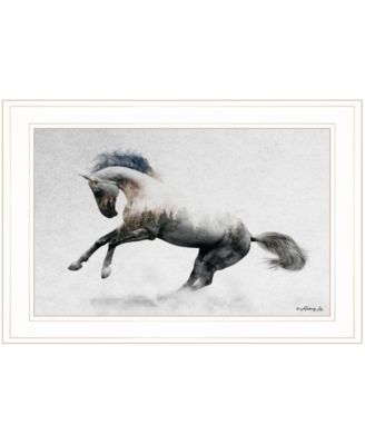 """White Stallion by andreas Lie, Ready to hang Framed Print, White Frame, 21"""" x 15"""""""