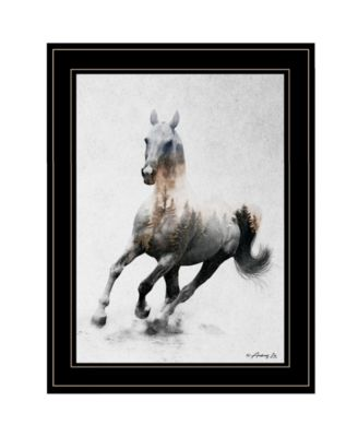 """Galloping Stallion by andreas Lie, Ready to hang Framed Print, Black Frame, 19"""" x 15"""""""