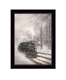 "Snowy Locomotive by Lori Deiter, Ready to hang Framed Print, Black Frame, 14"" x 20"""