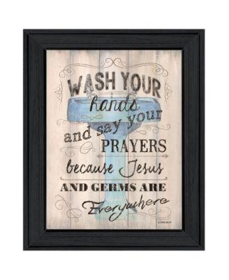 Bathroom Humor by Debbie DeWitt, Ready to hang Framed Print, Black Frame, 19