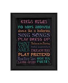 "Trendy Decor 4U Girl's Rules By Debbie DeWitt, Printed Wall Art, Ready to hang, Black Frame, 14"" x 18"""