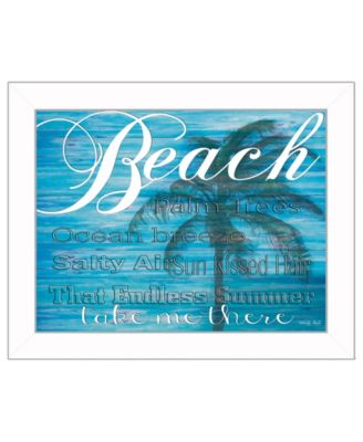 """Beach - Take Me There By Cindy Jacobs, Printed Wall Art, Ready to hang, White Frame, 18"""" x 14"""""""