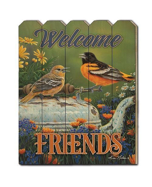 "Trendy Decor 4U Trendy Decor 4U Welcome Friends by Kim Norlien, Printed Wall Art on a Wood Picket Fence, 16"" x 20"""