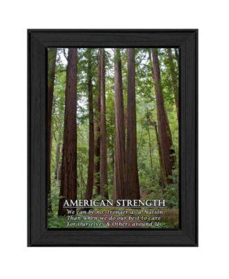 "American Strength By Trendy Decor4U, Printed Wall Art, Ready to hang, Black Frame, 14"" x 10"""