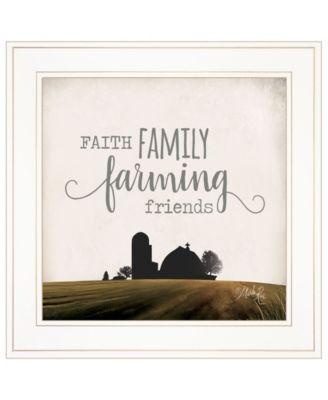 "Faith, Family, Farming Friends by Marla Rae, Ready to hang Framed Print, White Frame, 15"" x 15"""