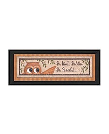 "Trendy Decor 4U Wise Owl By Mary June, Printed Wall Art, Ready to hang, Black Frame, 8"" x 20"""