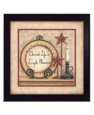 """Simple Pleasures By Mary June, Printed Wall Art, Ready to hang, Black Frame, 14"""" x 14"""""""
