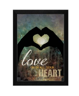 """Love with all Your Heart By Marla Rae, Printed Wall Art, Ready to hang, Black Frame, 14"""" x 10"""""""