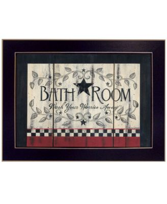 Bathroom by Linda Spivey, Ready to hang Framed Print, Black Frame, 14