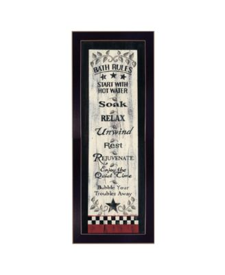 Bath Rules By Linda Spivey, Printed Wall Art, Ready to hang, Black Frame, 10