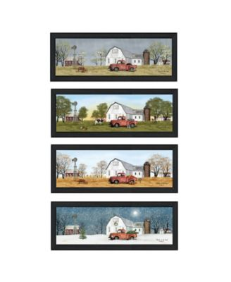 """Billy Jacobs Four Seasons Collection VII 4-Piece Vignette by Billy Jacobs, Black Frame, 39"""" x 15"""""""