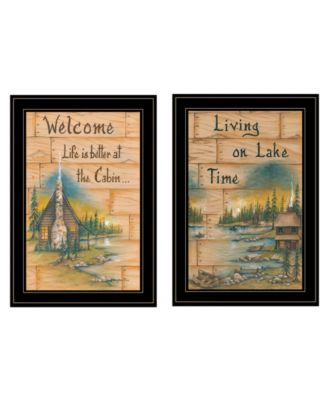 """Living on the Lake 2-Piece Vignette by Mary June, Black Frame, 15"""" x 21"""""""