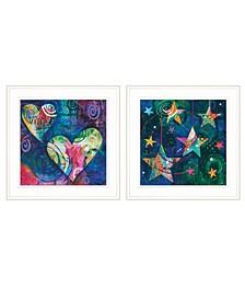 "Trendy Decor 4U A Heart of Love 2-Piece Vignette by Lisa Morales, White Frame, 15"" x 15"""