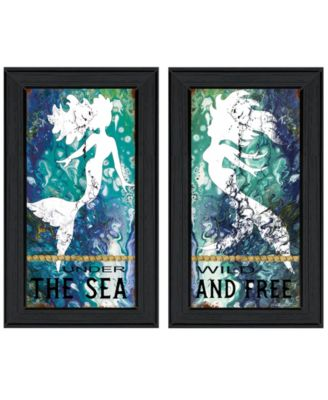 "Under The Sea 2-Piece Vignette by Cindy Jacobs, Black Frame, 11"" x 19"""