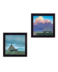 "Trendy Decor 4U Two Barnscapes 2-Piece Vignette by Tim Gagnon, Black Frame, 14"" x 14"""