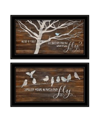 """Spread Your Wings 2-Piece Vignette by Marla Rae, Black Frame, 27"""" x 15"""""""
