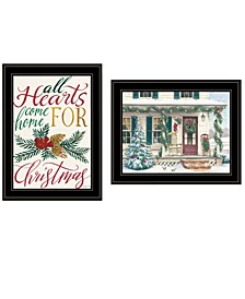 """Come Home for Christmas 2-Piece Vignette by Cindy Jacobs and Richard Cowdrey, Black Frame, 15"""" x 19"""""""