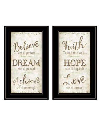 "Faith / Believe 2-Piece Vignette by Mollie B, Black Frame, 12"" x 21"""