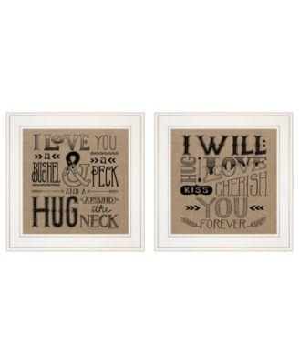 """Hugs / Forever 2-Piece Vignette by Deb Strain, White Frame, 15"""" x 15"""""""