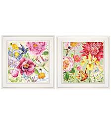 "Trendy Decor 4U English Garden I II 2-Piece Vignette by Barb Tourtillotte, White Frame, 15"" x 15"""