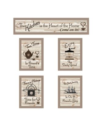 "Kitchen Friendship Collection II 5-Piece Vignette by Millwork Engineering, Taupe Frame, 32"" x 10"""