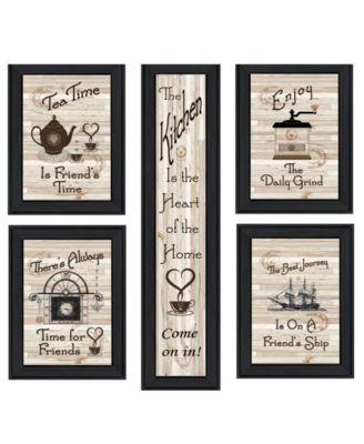 """Kitchen Friendship Collection 5-Piece Vignette by Millwork Engineering, Black Frame, 11"""" x 33"""""""