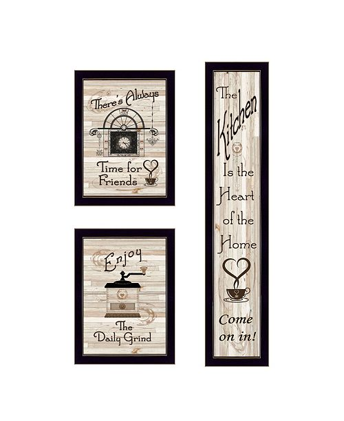 "Trendy Decor 4U Trendy Decor 4U The Kitchen Collection I 3-Piece Vignette by Millwork Engineering, Black Frame, 10"" x 32"""