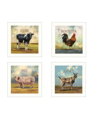 Farm Animals 4-Piece Vignette by Bonnie Mohr, Black Frame, 14