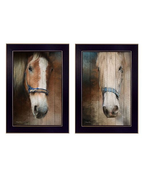 "Trendy Decor 4U Trendy Decor 4U Two Horses Collection By Robin-Lee Vieira, Printed Wall Art, Ready to hang, Black Frame, 14"" x 20"""