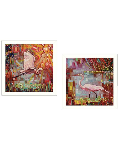 """Trendy Decor 4U Trendy Decor 4U Everglades Gliders Collection By Ed Wargo, Printed Wall Art, Ready to hang, White Frame, 14"""" x 14"""""""