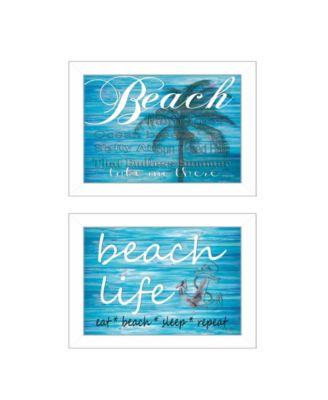 "Beach Life 2-Piece Vignette by Cindy Jacobs, White Frame, 15"" x 11"""