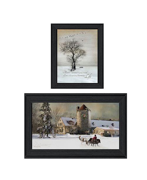 "Trendy Decor 4U Trendy Decor 4U Winter Harmony Vignette Collection By Robin-Lee Vieira, Printed Wall Art, Ready to hang, Black Frame, 48"" x 19"""