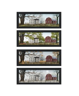 """Four Seasons Collection II 4-Piece Vignette by Billy Jacobs, Black Frame, 21"""" x 9"""""""