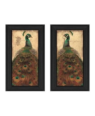 """Peacock Collection By John Jones, Printed Wall Art, Ready to hang, Black Frame, 22"""" x 20"""""""