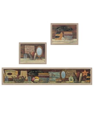 """Country Bath II Collection By Pam Britton, Printed Wall Art, Ready to hang, Beige Frame, 66"""" x 17"""""""