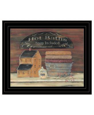 "HOT BATH by Pam Britton, Ready to hang Framed Print, Black Frame, 17"" x 14"""