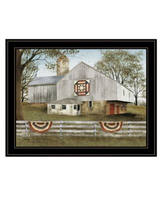 """American Star Quilt Block Barn by Billy Jacobs, Ready to hang Framed Print, Black Frame, 27"""" x 21"""""""