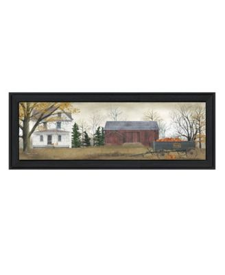 """Pumpkins For Sale By Billy Jacobs, Printed Wall Art, Ready to hang, Black Frame, 9"""" x 21"""""""
