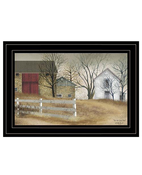 "Trendy Decor 4U Trendy Decor 4U The Old Stone Barn by Billy Jacobs, Ready to hang Framed Print, Black Frame, 15"" x 11"""