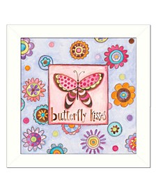 """Trendy Decor 4U Butterfly Kisses By Bernadette Deming, Printed Wall Art, Ready to hang, White Frame, 14"""" x 14"""""""