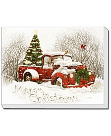 "Vintage-Like Christmas Tree Truck LED Lighted Canvas by Trendy Décor 4U, Ready to hang, Printed Art, 20"" x 16"""