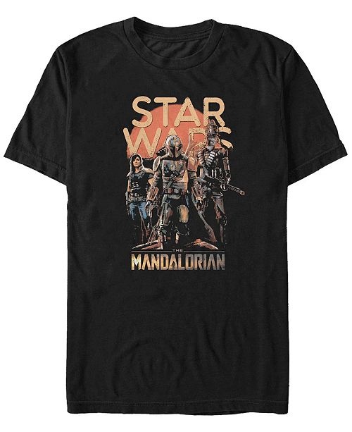 Star Wars Men's Mandalorian Red Sun Boba Fett Group T-shirt