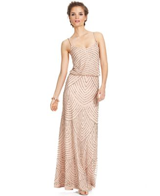 Adrianna Papell Petite Beaded Blouson Gown - Dresses - Petites - Macy\'s