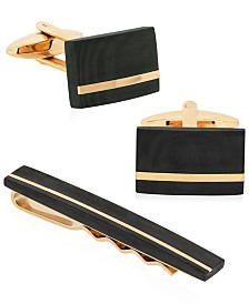 Sutton Gold-Tone Stainless Steel and Carbon Fiber Cufflink and Tie Clip Set