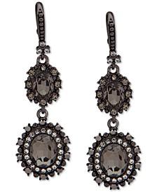 Hematite-Tone Crystal Double Drop Earrings