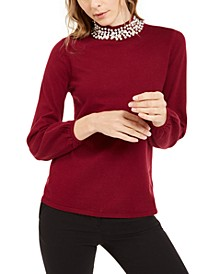 Petite Embellished Mock-Neck Sweater, Created For Macy's