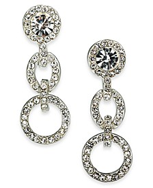Silver-Tone Pavé Link Linear Earrings, Created For Macy's